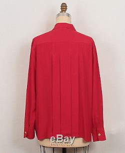 Chanel Red Silk V-Neck & Pleated Double Breasted Long Sleeve Top Blouse 50 18/20