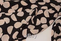 Chanel Vintage 1990's Black & Beige Silk Print Long Sleeve Top Blouse 48 16/18