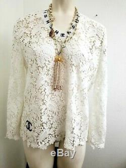 Chanel White lace Embellished long sleeves blouse top 40
