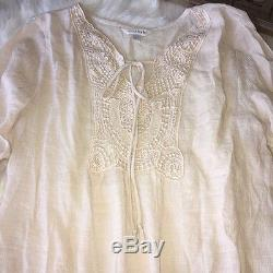 Charming Charlie Embroidered Long Sleeve Boho Peasant Beige Blouse Top Sz M