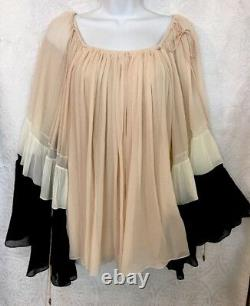 Chloe Blouse Blk/Pink/ Ivory Silk Layers Long Sleeve Size 36 NWT
