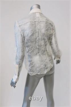 Chloe Blouse Cream Silk-Trim Ruffled Lace Size 36 Long Sleeve Top
