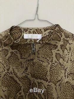 Chloe Spring 2018 Snake Python Printed Jersey Half Zip Long Sleeve Top Blouse S