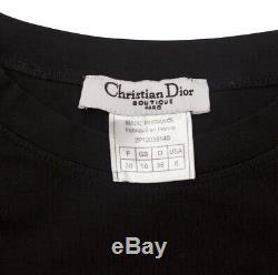 Christian Dior Galliano Era Long Sleeve Black Denim Patchwork Logo Top Size 6