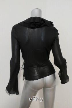 Christian Dior Ruffled Wrap Top Black Silk Size US 8 Long Sleeve Blouse
