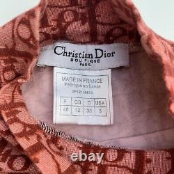Christian Dior Trotter Monogram Top Long Sleeve Burgundy Red Size 8 Authentic