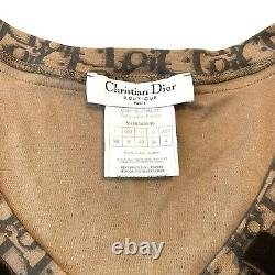 Christian Dior Trotter Monogram Top T shirt Short Long Sleeve Brown Authentic