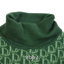 Christian Dior Trotter Pattern #L Long Sleeve Knit Tops Green Authentic Y04487