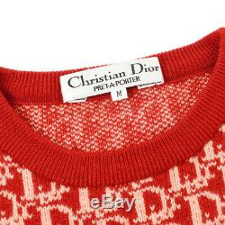 Christian Dior Trotter Pattern #M Long Sleeve Knit Tops Red 100% Wool A50734