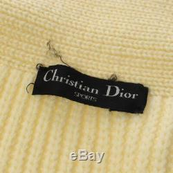 Christian Dior Vintage Logos Long Sleeve Tops White Wool #M Authentic AK31423g