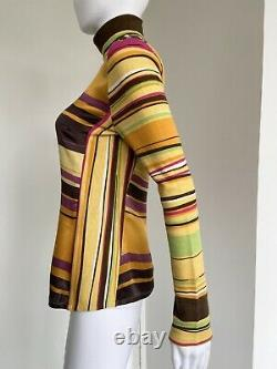 Christian Lacroix Fall 1997 size 38 yellow multicolour silk top stripes vintage