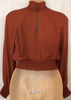Cinq A Sept Top Rust Long Sleeve Silk Crop Top Nwt $295 Size Xs