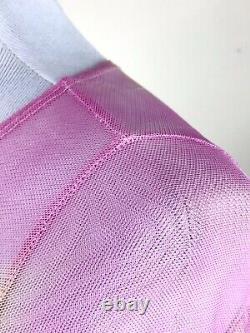 Collina Strada Pink Mesh Top Size S Tie-Dye Cardio Nova Scoop Neck Sheer Blouse