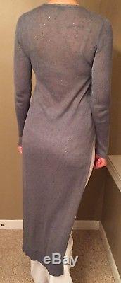 Cucinelli Blue Grey Sequined Linen Silk Long sleeve V-neck Sweater Top sz S