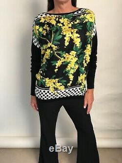 DOLCE & GABBANA Black Silk Yellow Floral Long Sleeve Boat Neck Top Size L