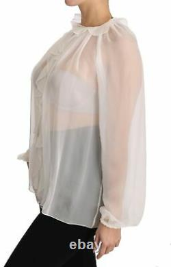 DOLCE & GABBANA Blouse White Silk Longsleeve Ruffled Top Shirt IT42/US8/M $1200