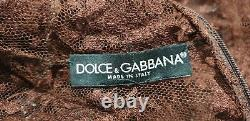 DOLCE & GABBANA Chocolate Brown High Neck Long Sleeve Sheer Lace Blouse Top M/L
