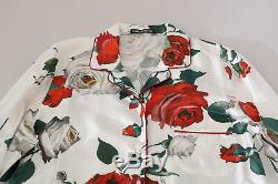 DOLCE & GABBANA Shirt White Longsleeve Silk Rose Print Top IT44/US10/L $1300