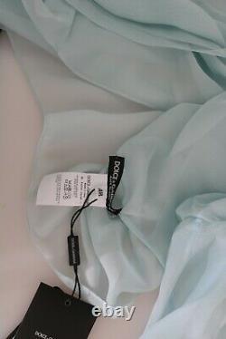 DOLCE & GABBANA Top Silk Blue Sheer Blouse Long Sleeve IT40 / US6 / S RRP $800