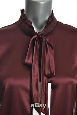 DOLCE & GABBANA Womens Pussy Bow Long Sleeve Blouse Silk Top IT 32 46 Small