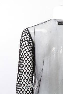 DRIES VAN NOTEN Black Contrast Mesh Fishnet Knit Long Sleeve Sheer Top Shirt M