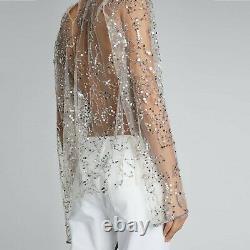 DRIES VAN NOTEN Nude Long Sleeve Sheer Silver Sequin Top 36-FR 4-US TTCB
