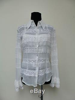 D&G White Cotton Flare Long Sleeves Top and Spaghetti Straps Blouse