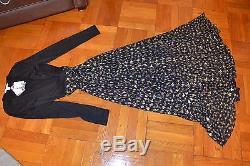 Diane Von Furstenberg Aviva Black Long Sleeve Top Full Skirt Gold Print New 12