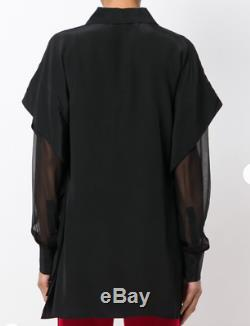 Diane Von Furstenberg Long-Sleeve Button-Front Silk Shirt/Top/Blouse M $ 298