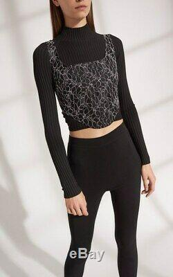 Dion Lee Twist Back Long Sleeve Black Knit Women's Top SZ M