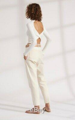 Dion Lee Twist Back Long Sleeve White Knit Women's Top SZ S