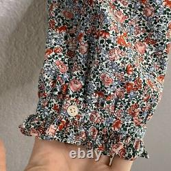 Doen Women's Size Large Blouse Top in Rose Gathered Floral Print 100% Cotton