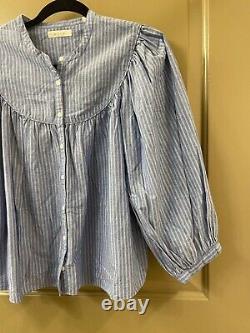 Doen cotton blue stripe balloon sleeve blouse top sz S (item A44)
