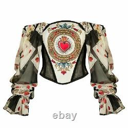 Dolce & Gabbana Off The Shoulder Printed Corset Blouse Top Size 12 RRP £1200