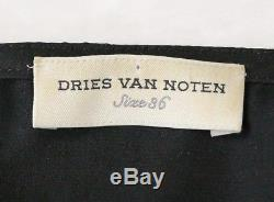 Dries Van Noten Long Sleeve Black Shirt Blouse Top with Ruffle Detail Size 36