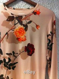 Dries Van Noten O-neck Rose Print Long-sleeve Top Medium New