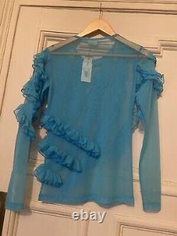 Dries Van Noten Sheer Blue Ruffle Mesh Top New Size S
