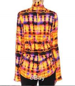 ELLERY Neon Long Sleeve Tie Die Printed Silk High Collar Long Top Shirt 14 US 10