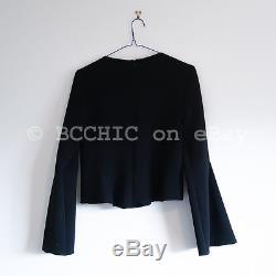 ELLERY cropped flared bell wide sleeves top black long sleeve 6 RRP $600+