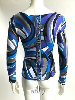 EMILIO PUCCI Blue Grey Black Print Long Sleeve Stretch T Shirt Top UK 12 IT 44