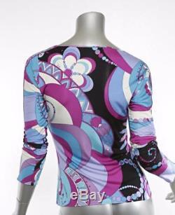 EMILIO PUCCI Multi-Color Print Long-Sleeve V-Neck Wrap Top Blouse 6-36 NWOT