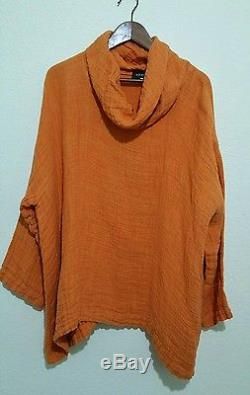 ESKANDAR Orange Textured Linen Turtleneck Top Long sleeves SIZE 1