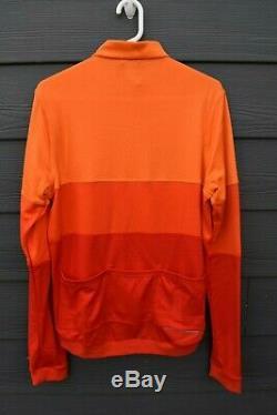 EUC! Rapha Tricolour Long Sleeve Jersey XL Orange Cycling Top