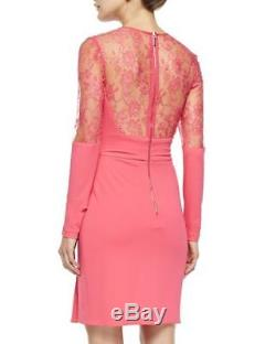 Elie Saab long-sleeve with lace top candy pink dress sz 36 US 4 nwt $ 2,995.00
