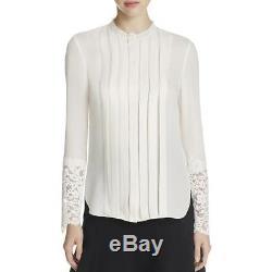 Elie Tahari 1203 Womens Ivory Solid Long Sleeves Sheer Casual Top Shirt S BHFO