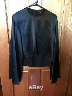 Ellery Protege Wide Long Sleeve Crop Top In Black Satin Size 6 Rrp $695 Bnwot