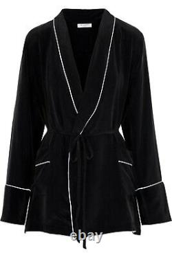 Equipment black Silk S 8 10 Theron Lounge set robe top trousers pajamas momme