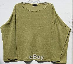 Eskandar GREEN Light Weight Linen Knit Bateau Neck Long Sleeve Top O/S $695