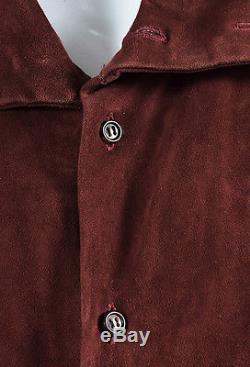 Eskandar Maroon Red Suede Leather Button Down Long Sleeve Shirt Top SZ 0