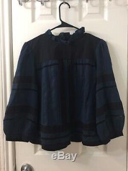 Etoile Isabel Marant Womens Long Sleeve Blue Blouse Top Size 38